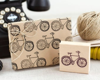 Bicycle Stamp - Handcrafted and Wood Mounted - Great for Cardmaking Scrapbooking Gift Wrap Favors and More