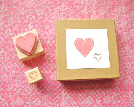 Handmade Rubber Stamp Set of Hearts - Hand Carved Wood Mounted - Great for Valentine's Day Save the Dates or Scrapbooking