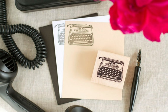 Vintage Typewriter Rubber Stamp - Handcrafted Wood Mounted - Great for Cardmaking Stationery Tags Giftwrap Wedding Crafts and more