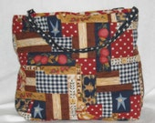 Americana Patriotic  Print Quilted Tote