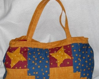 Patriotic Patchwork Purse in Gold,Red,Blue