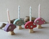 Mushroom birthday candle holder- cupcake topper