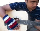 Unisex fingerless gloves in red, off white, and blue stripes - Patriot - hand knit MADE TO ORDER