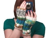 Knit Fingerless Gloves in Peruvian Multicolor - blue, green, orange, brown, black ,and beige