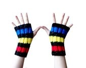 MADE TO ORDER Primary Colors Fingerless Gloves - hand knit in blue, yellow, red, and black stripes