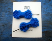 Mini Knit Hair Bows - Bright Blue Bows on Bobby Pins - under 10 stocking stuffer