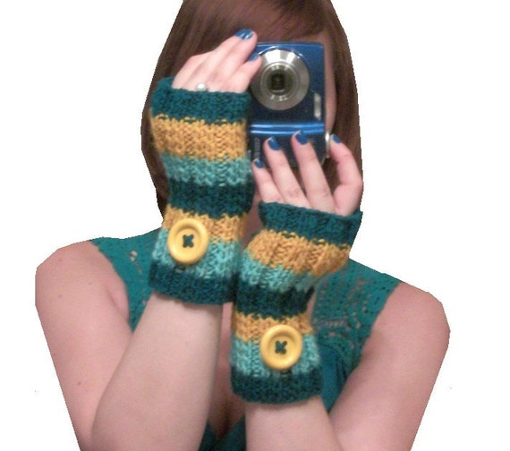knit fingerless gloves in mustard yellow and teal - Teal Sunrise - Made to Order