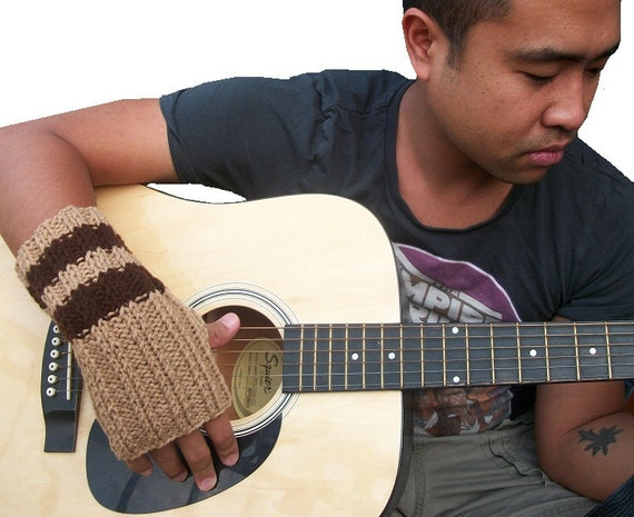 Men's Fingerless Gloves - Hand knit in Caramel and Brown Stripes - MADE TO ORDER fall autumn tagt team