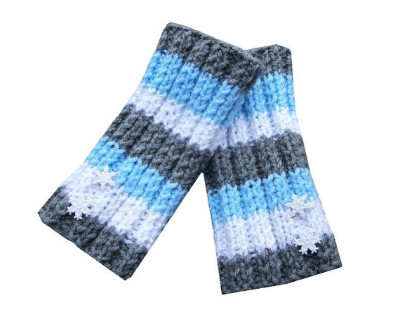 RESERVED FOR CHERYL - Holiday Fingerless Gloves - Hand Knit in Grey, Blue, and Sparkly White with Snowflakes Buttons