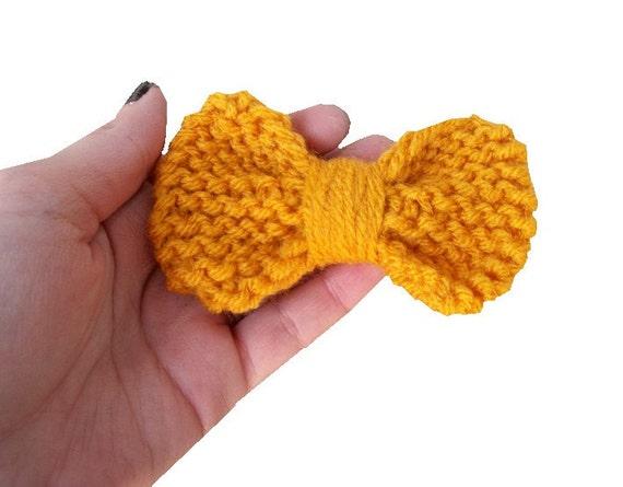 Mustard Yellow Knit Hair Bow