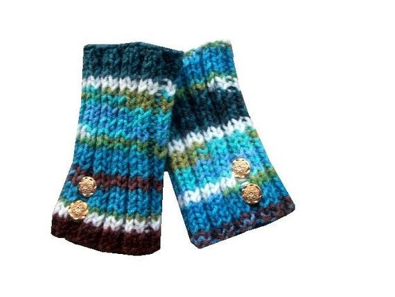 Knit Fingerless Gloves in Peruvian Multicolor - blue, green, brown and tan