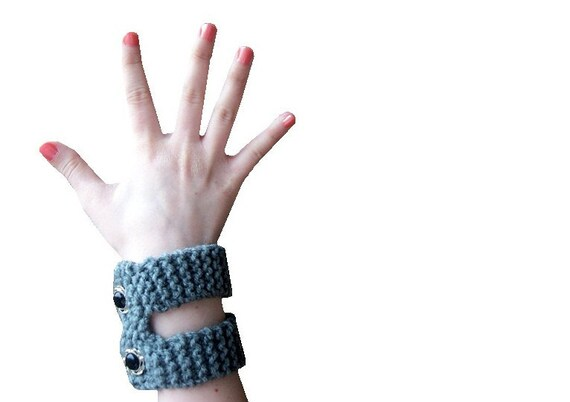 Grey Knit Bracelet - Hand Knit Double Cuff Band