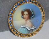 Vintage Glass Portrait Medallion Little women Lady in Blue