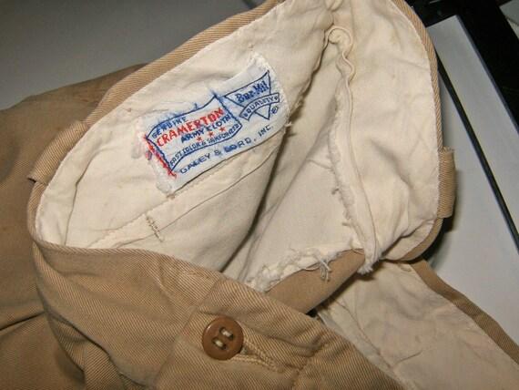 Vintage Cramerton twill khaki mens pants Old 1950 1940 Army