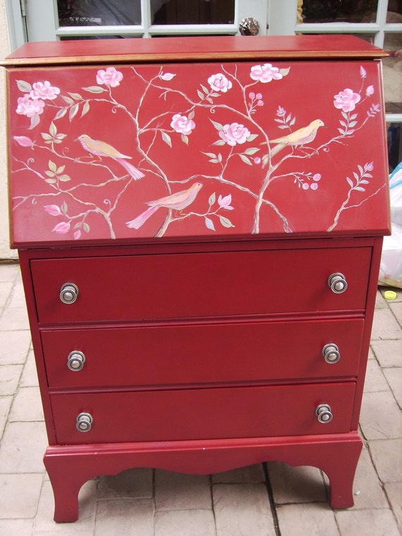 Red, Hand painted, pull open desk