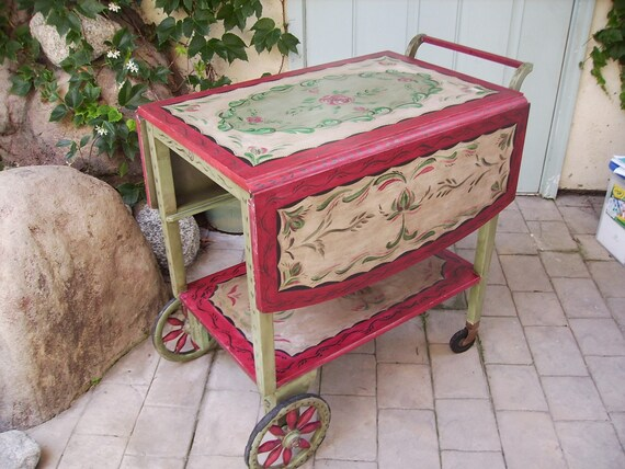 Hand Painted Antique Tea Cart-RESERVED