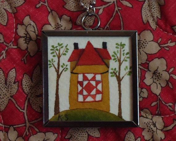 original artwork pendant necklace - primitive folk house with quilt OP-1201