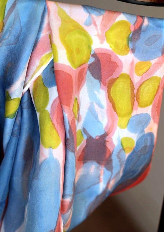 Original hand-painted silk scarf