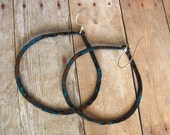 Eco-Friendly Copper Hoops - Upcycled Large Hammered  Earrings w Turquoise Blue Patina