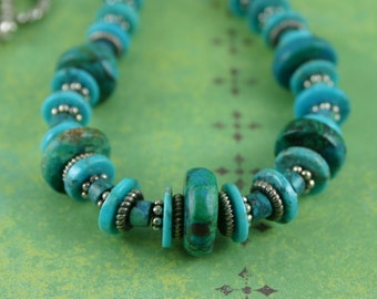 Native Turquoise Necklace w Sterling Silver