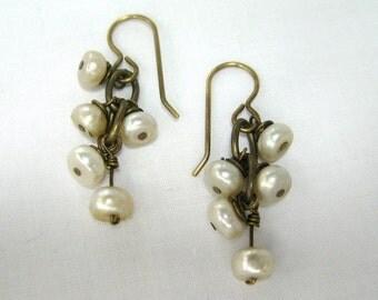 Cluster Pearls on Brass Earrings
