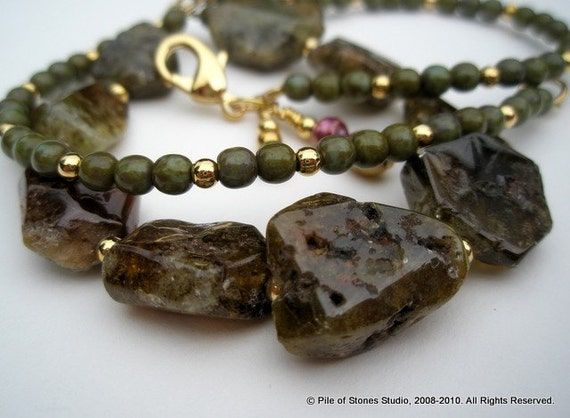 Clearance Sale Necklace, Organic Earthy Green Grossular Garnet Nuggets, Freshwater Pearls, Moss Green, Rich Wine Red, Gold Accents