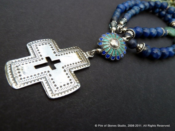 Necklace, Lauds, Vintage Sterling Silver Cross Pendant, Intriguing Vintage Enameled Medallion, Blue Stone and Chrysocolla Beads