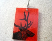 Red Big Buck Deer Pendant Necklace Jewelry RECYCLEry Upcycled Eco Friendly Recycled