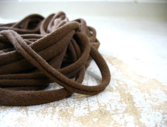 Brown Scarf, handmade Scarf, Handmade necklace, Chocolate Brown Fabric Scarf Necklace, Recycled Scarf, CLAMORED