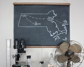 Chalkboard State Maps // Custom State Map Art // 50 states // New York // New Jersey // Massachusetts // Michigan // California