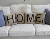 HOME Scrabble Pillows - Inserts Included // Scrabble Tile Pillows // Letter Pillow Cushions