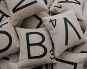 4 Scrabble Letter Pillows CASES ONLY // Scrabble Tile Pillows // Letter Pillow Cushions // Game Room // Family Room // Den // Alphabet