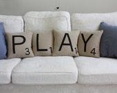 PLAY Scrabble Pillows - CASES ONLY // Scrabble Tile Pillows // Letter Pillow Cushions