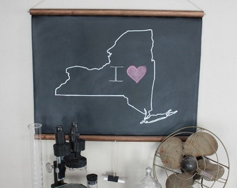 Chalkboard State Maps // Custom State Map Art // 50 states // New York // New Jersey // Massachusetts // Michigan // California