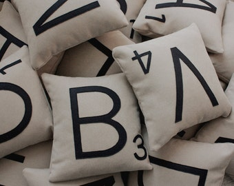 4 Scrabble Letter Pillows WITH INSERTS // Scrabble Tile Pillows // Letter Pillow Cushions