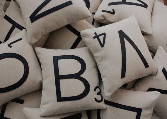 3 Scrabble Letter Pillows CASES ONLY // Scrabble Tile Pillows // Letter Pillow Cushions // Game Room // Family Room // Den