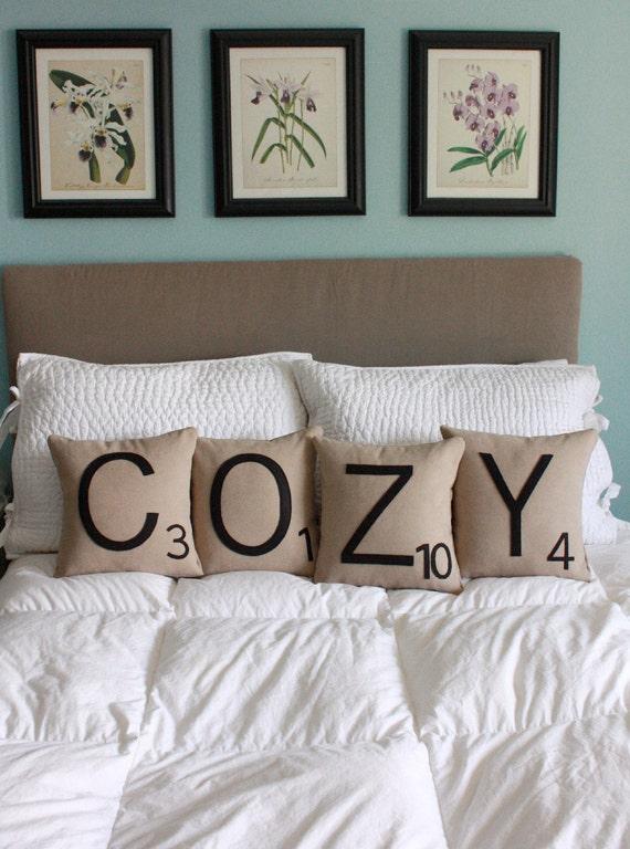 COZY Scrabble Pillows - Inserts Included // Scrabble Tile Pillows // Letter Pillow Cushions // Initials // Alphabet