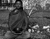 JC - traditional black and white photograph, 8x10 paper, black and white wall art, buddhist art, singing bowl photography