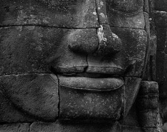 Bayon - traditional black and white photograph, 8x10 paper, cambodia photography, angkor photography, buddhist wall art