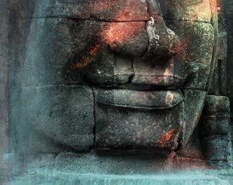 Bayon - 5x7 print in 8x10 mat, photo collage, wall art, buddhist wall art, cambodia photography, zen art, bayon photography