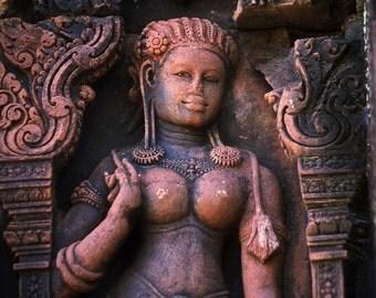 Apsara - fine art photograph, 5x7 print in 8x10 mat, angkor photo, cambodia photography, banteay sray photo, buddhist wall art, serenity