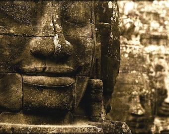 Bayon II - vintage look photograph, 5x7 print in 8x10 mat, angkor photography, angkor print, cambodia photography, buddhist art