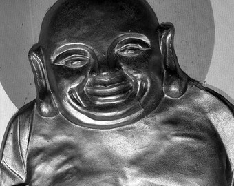 Happy Buddha - 5x7 photo in 8x10 mat, black and white photography, buddha photo