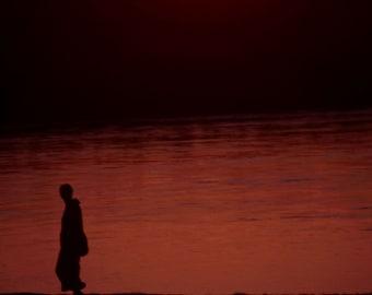 Chitwan Sunset - 5x7 print in 8x10 mat, nepal photography, sunset photography