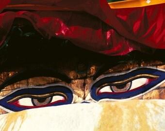 Buddha Eyes -  5x7 print in 8x10 mat, nepal photography, buddha eyes, buddhist wall art, wall art