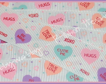 """5 Yards 7/8""""  Candy Conversation Hearts Valentines Day Pastel light colors Grosgrain Ribbon - TWRH"""