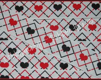 "3 Yards 7/8""  Valentines Day Hearts Argyle Grosgrain Ribbon - TWRH"