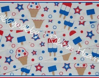 "3 Yards 7/8""  Patriotic Ice Cream Popsicles Grosgrain Ribbon - TWRH"