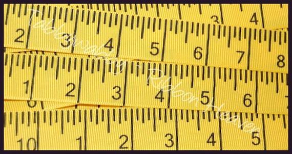 78 On Tape Measure: 3 Yards 7/8 Yellow Tape Measure Grosgrain Ribbon TWRH