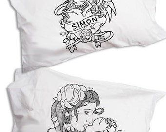 Personalised Name Pillow, Tattoo Flash, Pillowcase Pair